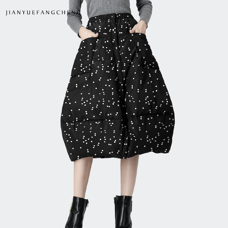 Polka Dot Duck Down Winter Skirt Buttons Thicken Warm Ladies Casual Skirts 2019 Midi Plus Size A Line High Waist Black Jupes