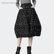 Polka Dot pato abajo falda de invierno botones Thicken caliente señoras faldas casuales 2019 Midi más tamaño A línea de cintura alta negro Jupes