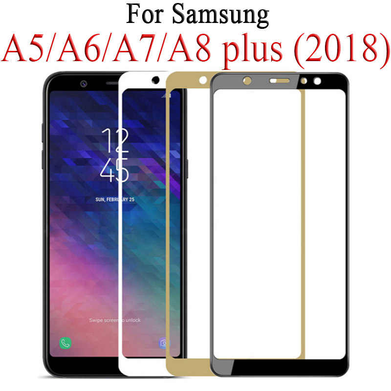 Full Cover Protective Glass on For Samsung Galaxy J4 J6 A6 A8 Plus A5 A7 J7 J8 2018 Glas Tremp A750 A730F Samsun Sumsung Galax