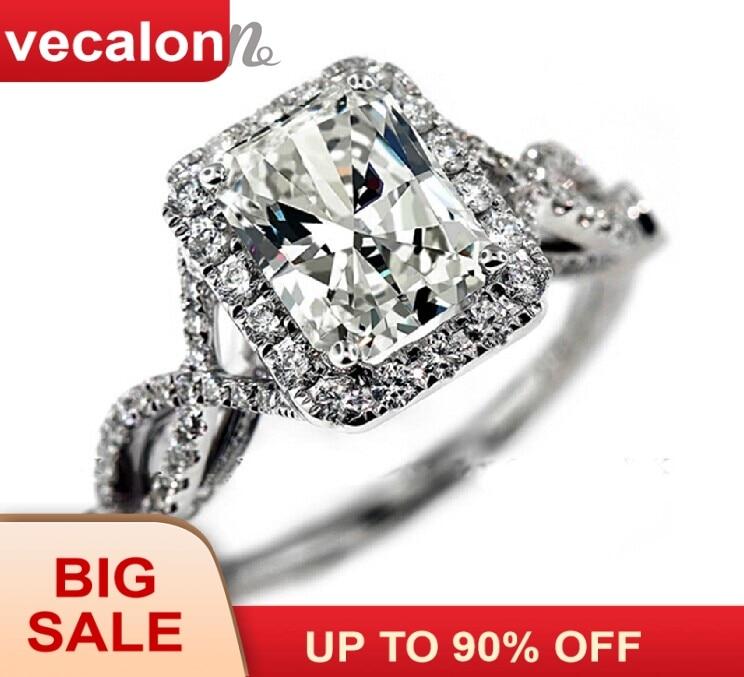 Vecalonský módní prsten snubní prsten pro ženy 4ct 5A Zircon cz prsten 925 Sterling Silver Female Engagement Finger ring