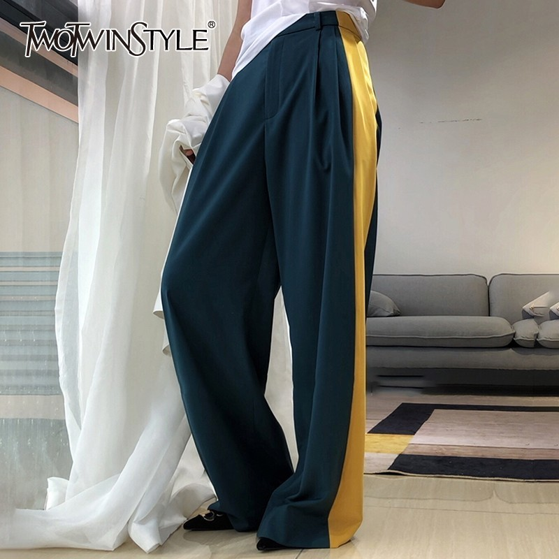 TWOTWINSTYLE Casuale Hit Color Long Trousers Women High Waist Big Size Long Wide Leg Pants Female Spring Fashion 2019 New