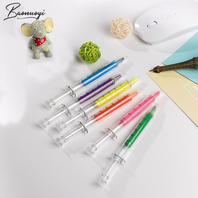 Cute Novelty Marker Pen Nurse Needle Syringe Shaped Highlighter Marker Kawaii Marker Stationery School Supplies Office Supplies
