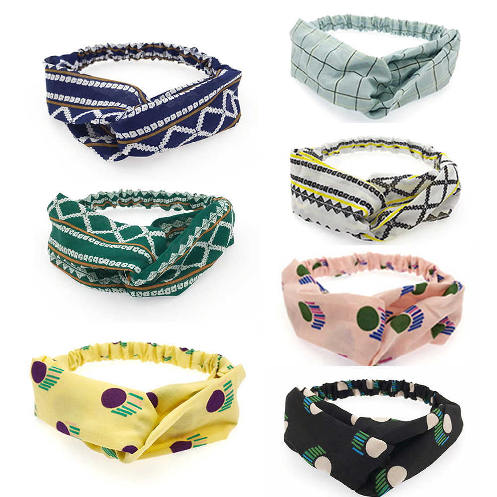 Sweet Cross Knot Wide Headbands For Women Stretchy Soft Hair Bands Floral Dots Hair Ribbons Accessories For Girls Gifts   Headwear