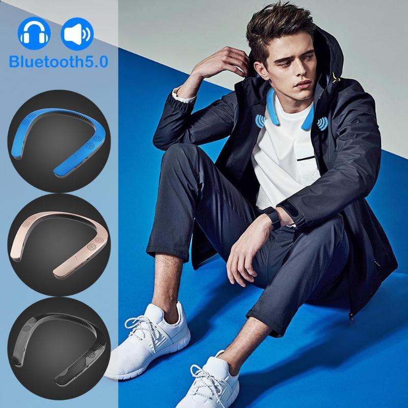Alloyseed Wearable Neckband Wireless Mini Surround Sound Stereo Bluetooth Speaker MP3 Music Palyer Headset Sport Earphone