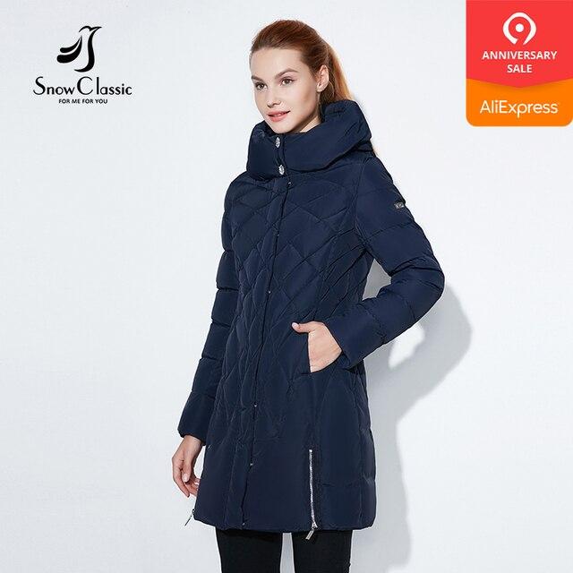 Snowclassic 2017 Женская зимняя куртка Тонкий Короткая парка капюшоном пальто Роскошные верхняя одежда Аргайл Однотонная курточка женские ботфорты зимние куртки