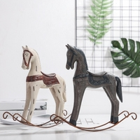 Wooden Horse Vintage Rustic Home Decor Wood Decoration Maison Room Accessories Statue Model Shabby Chic
