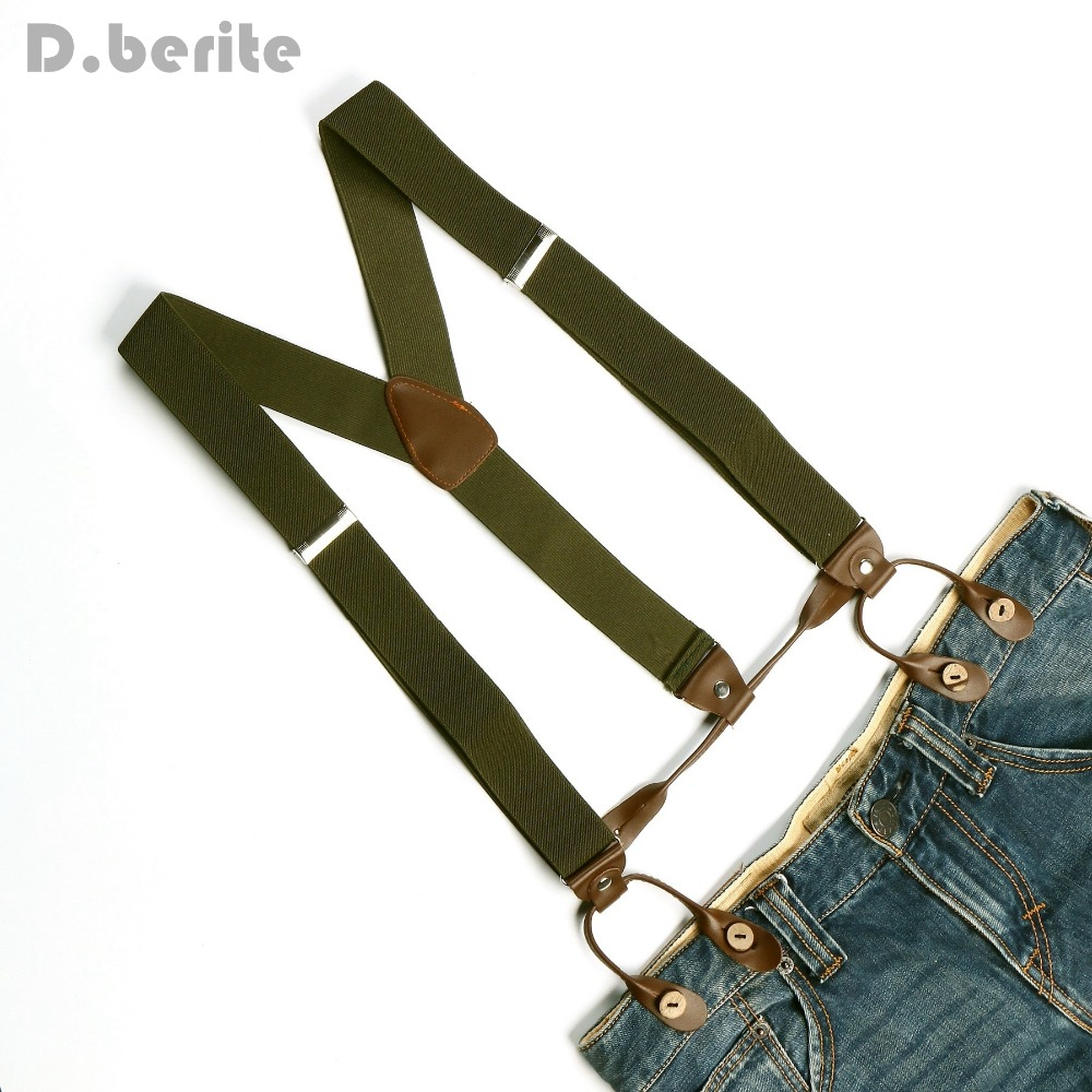 Unisex Men Dark Green Braces Suspender Adjustable Leather Fitting 6 Button Holes Brace Elastic Belt Strap Adult Gallus BD703