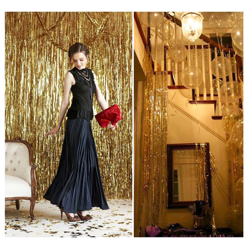 Image 4 - Party Backdrop Wedding Backdrop 2M 3M Gold Tinsel Curtain Wedding Decoration Photo Curtains Birthday Decoration Party Curtains-in Party Backdrops from Home & Garden