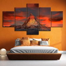 5 Piece Switzerland Zermatt Matterhorn Landscape Oil Paintings Canvas Art Wall Paintings for Home Decor цена 2017