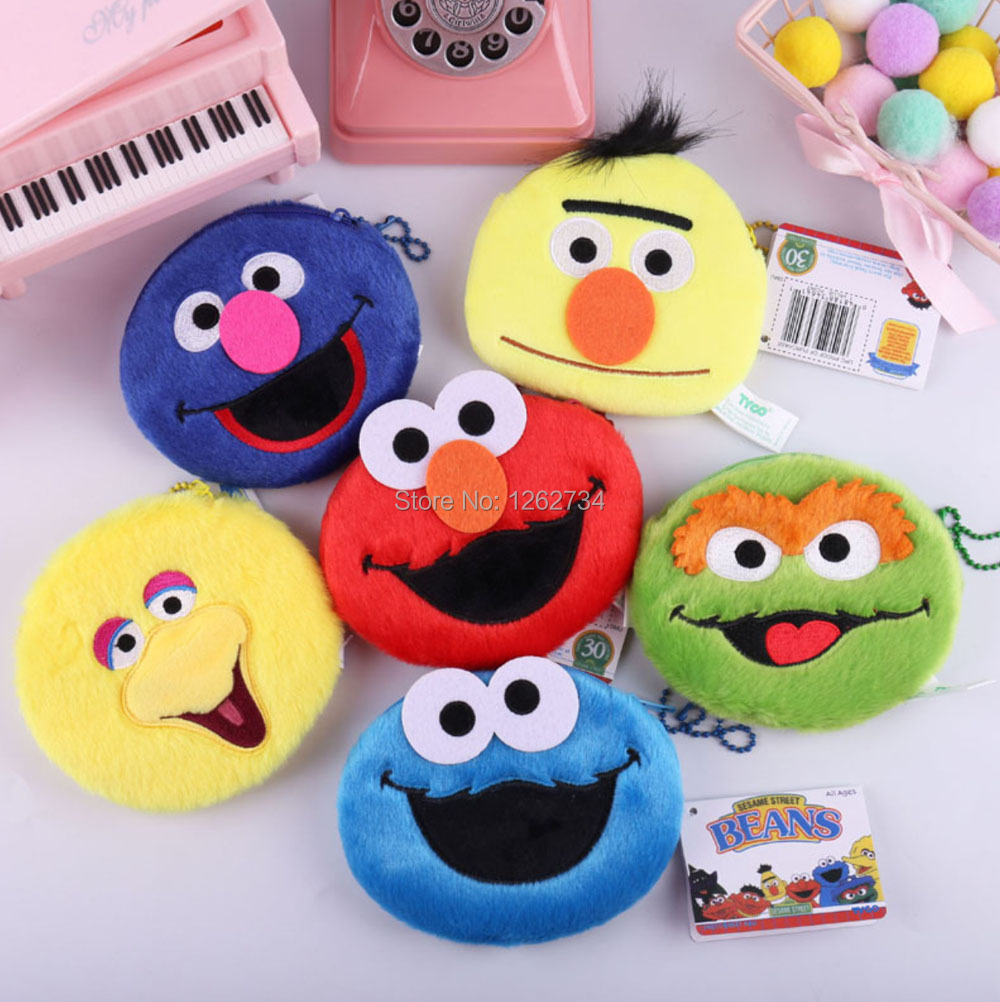 6 Styles Plush Doll Sesame Street Cookie Monster Elmo Bert Big Bird Grover Oscar 14X10CM Bag Figure TYTJ