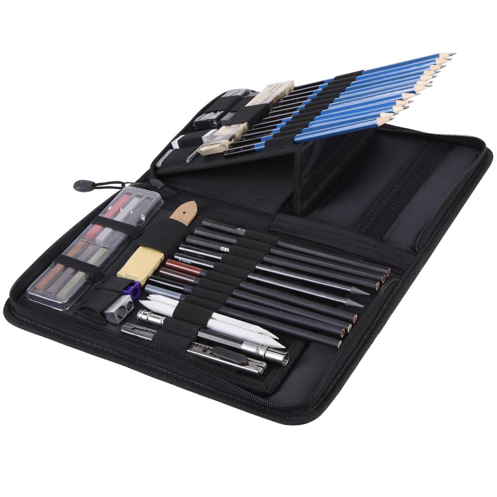 Image 5 - 48PCS Professional Sketching Drawing Pencils Kit Carry Bag Art Painting Tool Set Student Black for Drawing Sketching and Writing-in Standard Pencils from Office & School Supplies