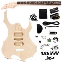1Pc Unfinished Basswood Electric Guitar Children Handmade DIY Music Instrument Guitar Body Neck String Kits Kids Educational Toy