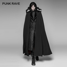 PUNK RAVE Goth Vampire Count Nightcrawler Black Turtleneck Long Cloak Party Cosplay Visual Kei Winter Coat Mens Gothic Clothes