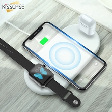 KISSCASE 3 In1 QI Wireless Charger For iPhone X XR XS MAX 8 Fast Charging Watch AirPods Mobile Phone