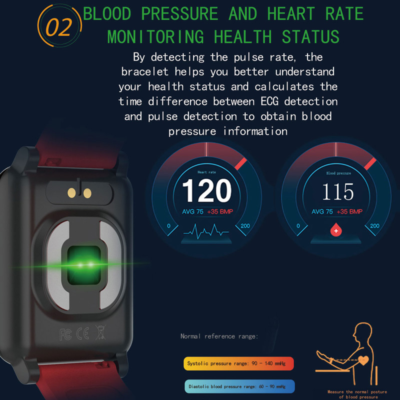Pulsera inteligente Chycet ECG PPG reloj de medición de presión arterial para mujer Monitor de ritmo cardíaco banda de Fitness con rastreador de actividad - 3