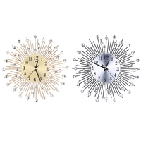 Metal Plus Diamond Wall Clock Iron Art Inlaid Diamond Flower Living Room Bedroom Silence Wall Clock Home Decor