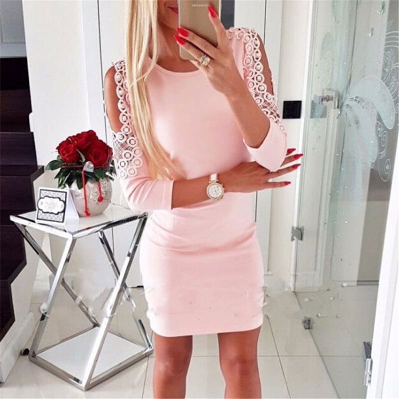 Meihuida Sexy Pearl Dress  Long Sleeve Spring Autumn Winter Women Dresses Casual  O Neck Bodycon Pencil Dresses