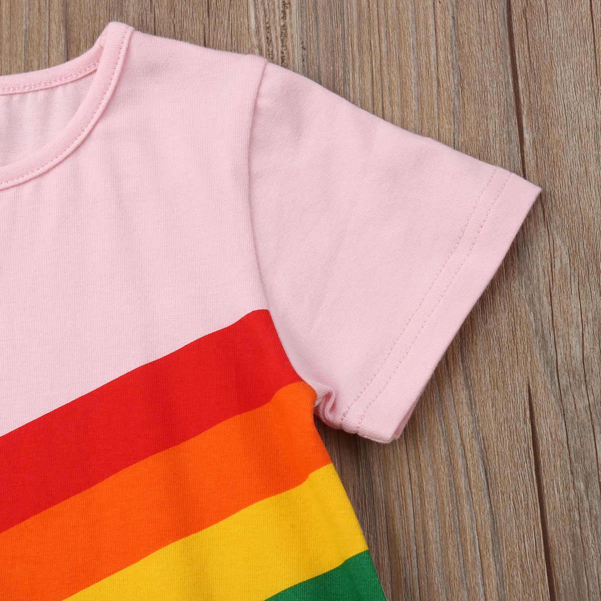 קיץ פעוט ילדים תינוק חמוד בנות פסים כותנה נסיכת שמלת קשת מודפס מפלגה מקרית שמלה קיצית בגדי 2-6Y מחיר: