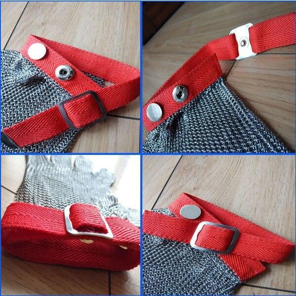 Кольчужные перчатки среднего размера S/стальной нейлоновый ремешок металлические перчатки для пальцев - 5