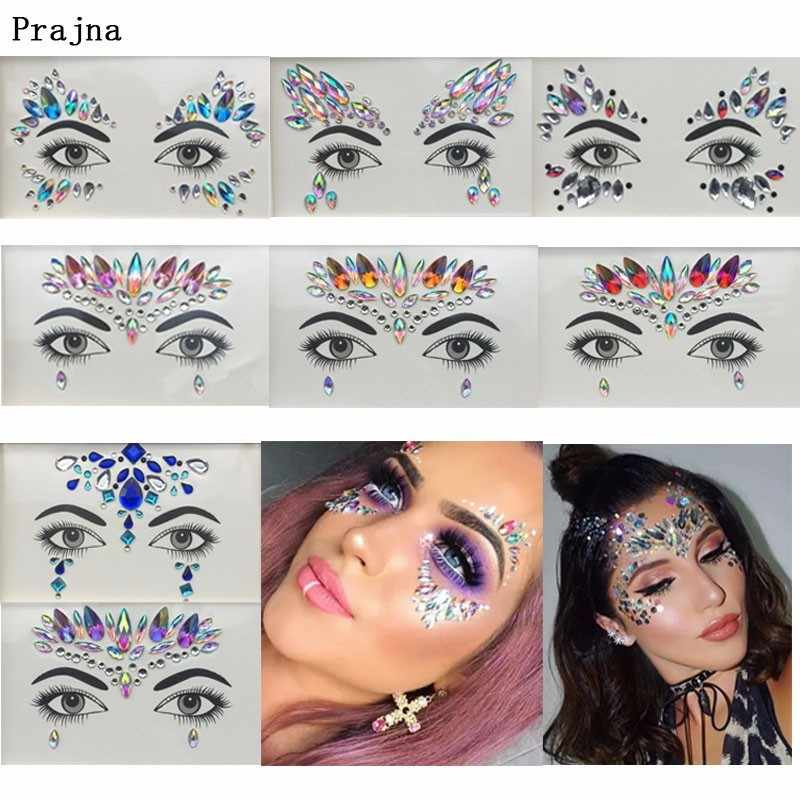 Prajna Hippie Face Sticker Self- Adhesive Crystal Rhinestones Decoration For Eye Jewelry Accessories Music Party Art Stickers H