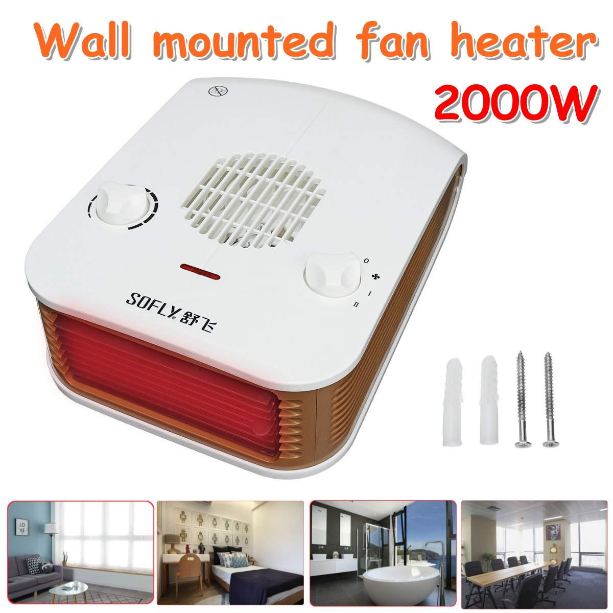 Multifunction 2000W Wall Mounted Fan Heater Knob Control/10 gear speed Household Warm Bathroom Bedroom Heater WaterproofMultifunction 2000W Wall Mounted Fan Heater Knob Control/10 gear speed Household Warm Bathroom Bedroom Heater Waterproof