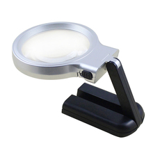 3X Needlework Magnifying Glass Inspection Stand Illuminated LED Lighted Foldable Repair Handheld Magnifier Portable Reading