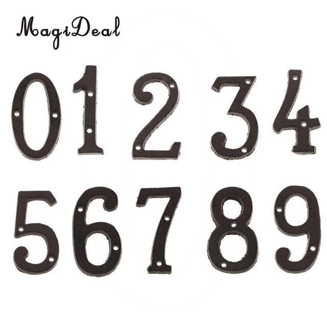 0 9 Black Wrought Iron Craft House Numbers Hotel Home Door Metal Plating Number Digits