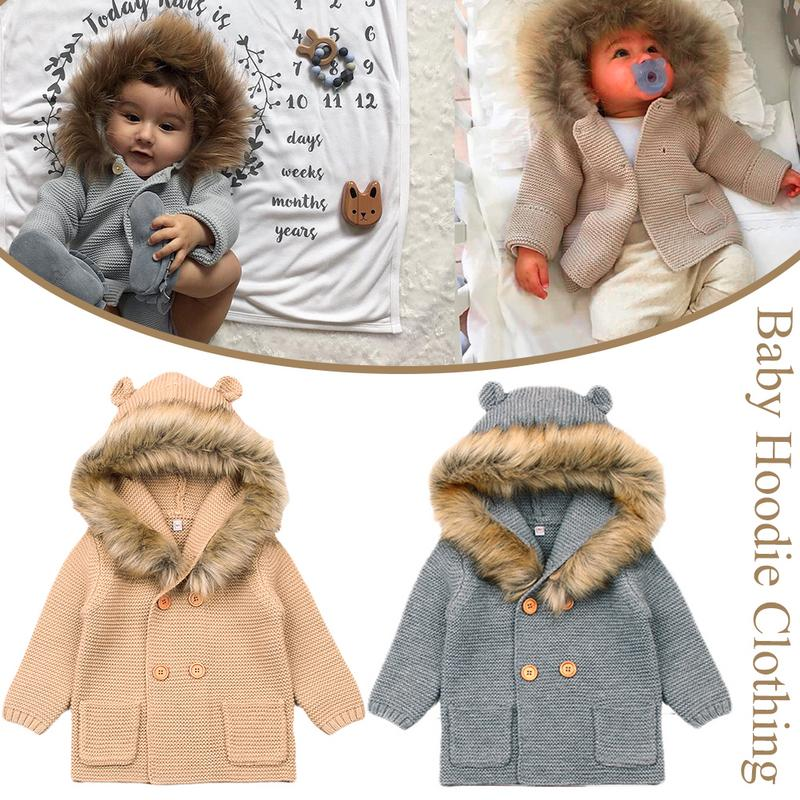 Winter Sweaters For Baby Girls Cardigans Autumn Hooded Newborn Boys Knitted Jackets Cartoon Bear Children's Long Sleeve Clothing autumn kids girls sweaters and cardigans cartoon animal boys sweaters cotton baby girls knited jackets winter children knitwear