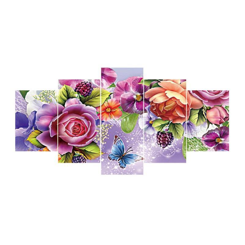 5 pièces 5D bricolage complet rond perceuse diamant peinture fleur et papillon point de croix Kit broderie mosaïque décoration pour la maison