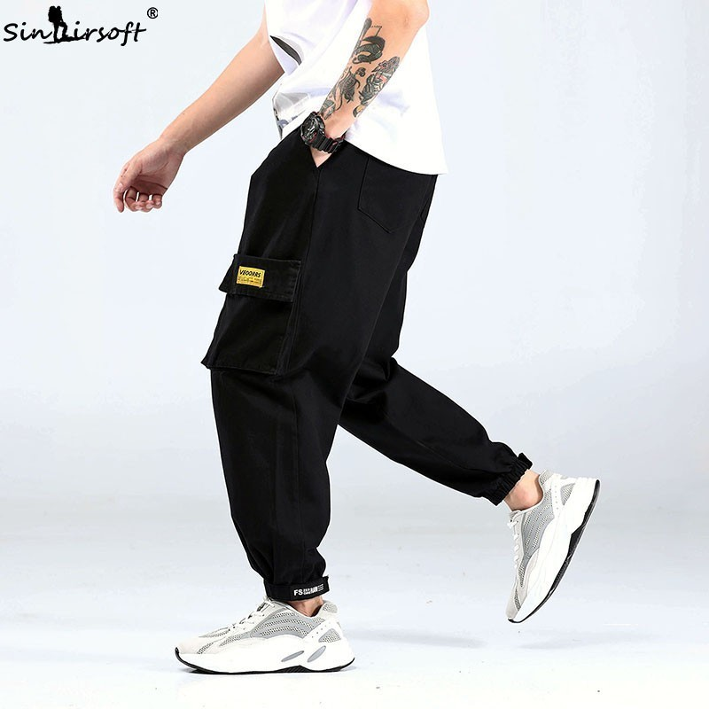 2019 New Casual Sports Pants Goods Large Pockets Loose Black Pants Men's Harem Pants Men's Street Jogging Pants M-XXXL