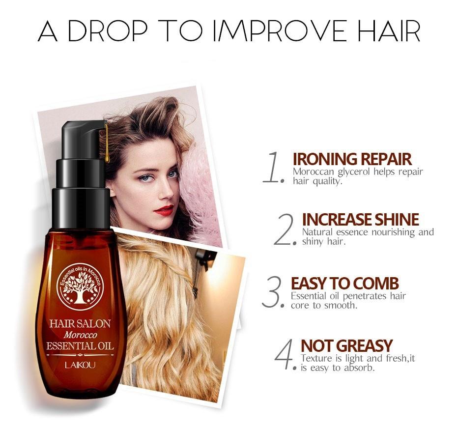 LAIKOU 40ML Morocco Pure Argan Oil Hair Growth Nut Essential Oil Anti Hair Loss Repair for Repair Damaged Dry Hair Types TSLM1 3
