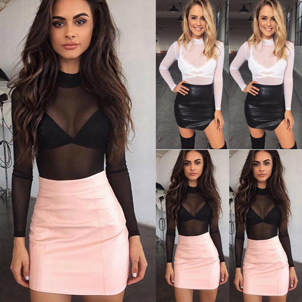 Women Top Sheer Fashion Sexy Womens Ladies T-Shirts Long Sleeve See-Through Top Clubwear Tulle Mesh Black Pink Red T-Shirt