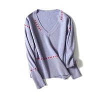 Shuchan Women's Sweater Cashmere V neck Criss cross Pullovers Christmas Warm Knitted Sweater For Women 2018 Fashion Long Sleeve