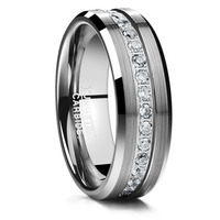 2018 8MM Finger Classic Ring Inlaid Acacia Zircon Frosted Tungsten Ring Man's Wedding Fine Jewelry Full Size 7 12