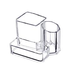 3 Grid Transparent Acrylic Table Shelf Makeup Brush Storage Bucket Beauty Eyebrow Pencil Cosmetic Box Organizer