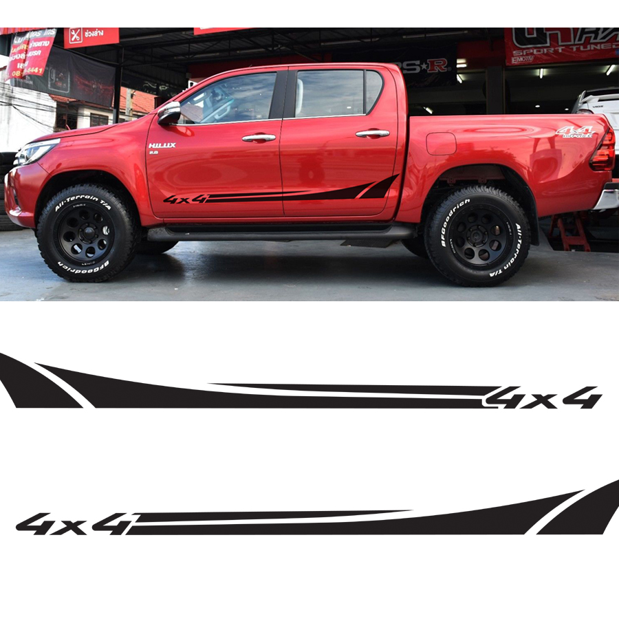 2 Pcs hilux shark 4x4 side door panel stripe graphic Vinyl sticker for TOYOTA HILUX vigo revo|Car Stickers| |  - title=