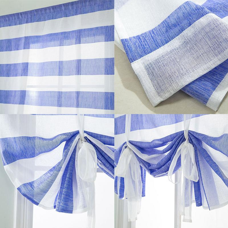 Household Curtain Roman Modern Tulle Window Curtains Blue Strip Gray Ash Sheer Curtain For Bedroom Living Room screen door