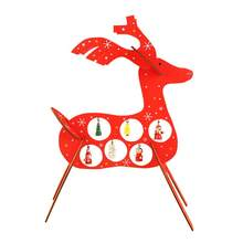 1pc Christmas Table Elk Wooden Decoration Assembly DIY Craft with Pendant Charms for Office Home Cafe Restaurant Decor(China)