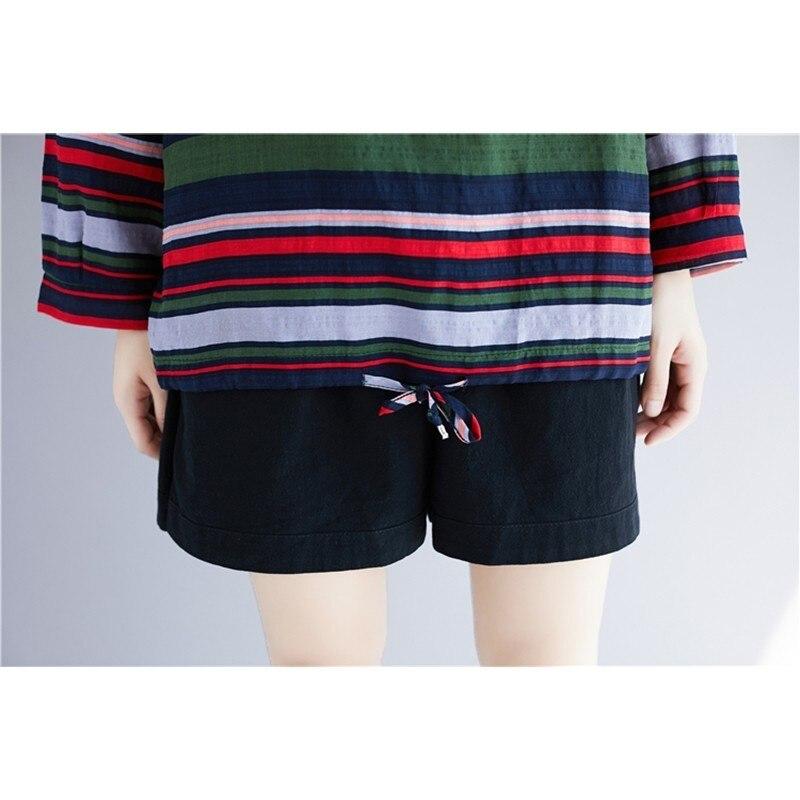 Doornot Oversized Striped Woman Tops & Tees V neck Long sleeve Ladies Tshirts Fashion Loose Drawstring Linen Women T-shirt 6
