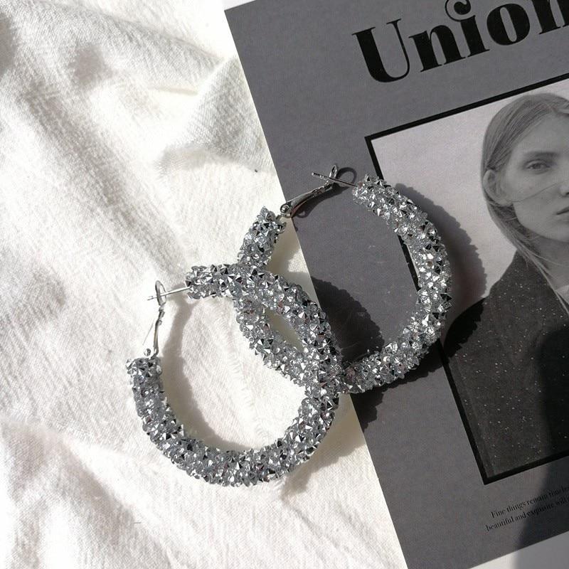 2019 Luxury Bohemian Big Circle Hoops Earrings Black Bling Crystal Round Loop Earrings for Women Wedding Jewelry Brincos in Hoop Earrings from Jewelry Accessories