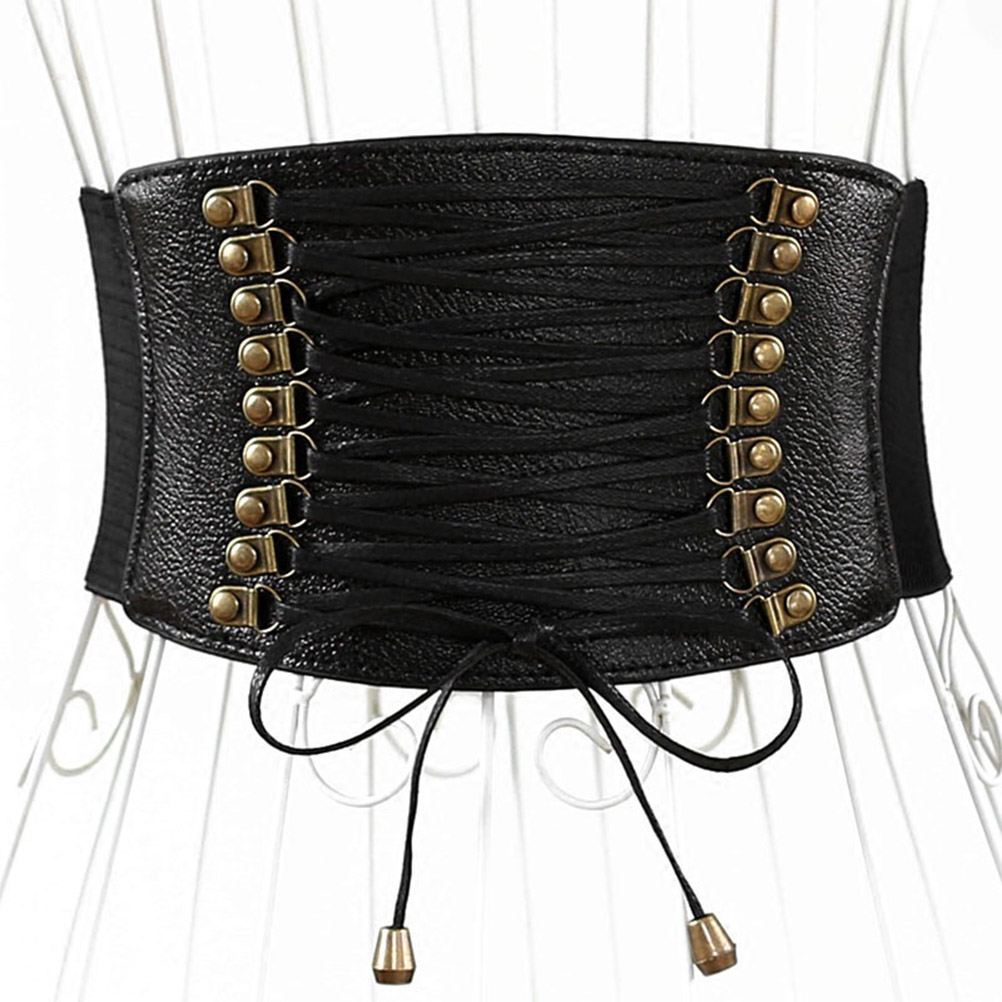Lady Ultra Wide Waistbelt Women's PU Leather Belts Female Fashion Elastic Tassel Wide Belt Decorative Skirt Accessories (Black)