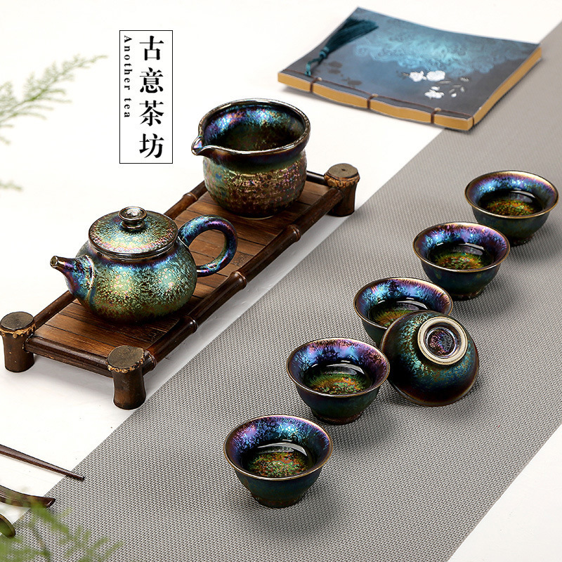 Fambe Yao The Weather Order Glazed Pottery Porcelain Kung Fu Tea Have 8 Paper Set Group Colorful Peacock Glaze Tea Set SuitFambe Yao The Weather Order Glazed Pottery Porcelain Kung Fu Tea Have 8 Paper Set Group Colorful Peacock Glaze Tea Set Suit