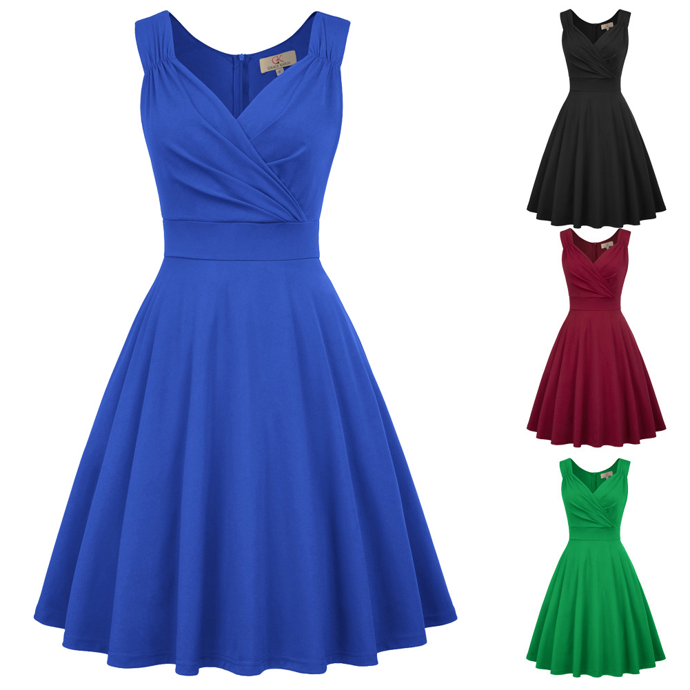Luxury Pleated Dress Women Solid Color Sleeveless V-Neck Ruched Knee Length Flared A-Line Wedding Bridesmaid Party Dress Vestido