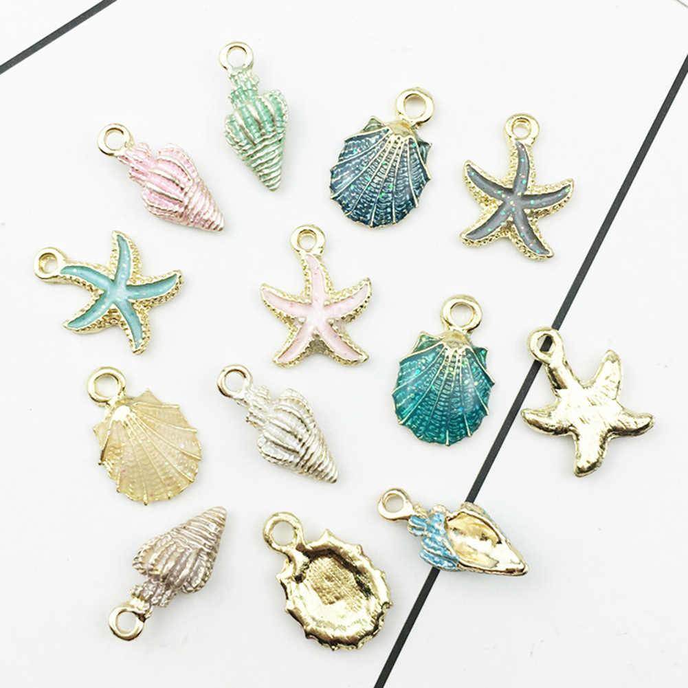 13 Uds concha de mar colgante DIY dijes joyería hacer accesorios hechos a mano collar bohemio joyería regalo de Navidad