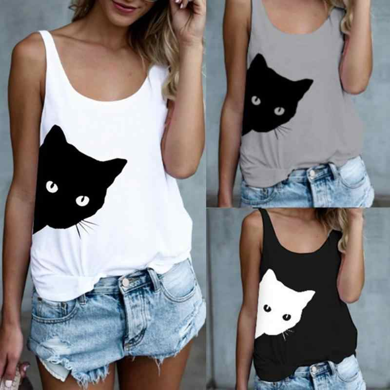 40f06ba52a5 Women Sleeveless White T-shirts Casual Loose Tank Tops Ladies Cute Cat  Print O-Neck Loose Camisole Autumn Bottoming Black Vest