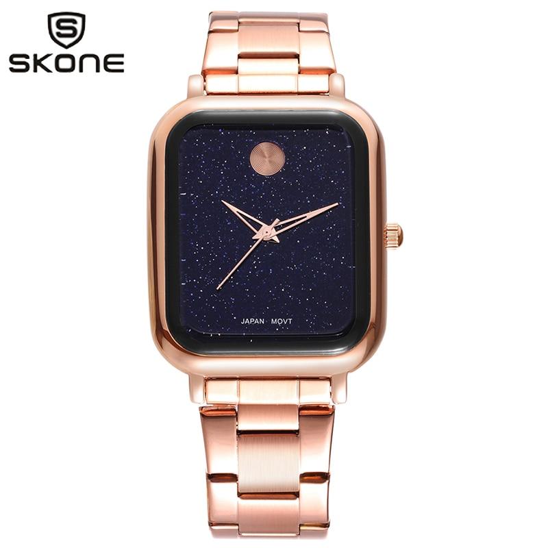 SKONE Starry Sky Watch Woman Reloj Mujer Square Stainless Steel Band Wristwatch Ladies Top Brand Female Clock Relogio Feminino