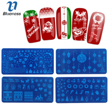 Blueness 1 Sheet Nail Stamping Plates Beauty Christmas Snowflakes 3D DIY Nail Art Stamping Template Nail Art Stamp for Manicure