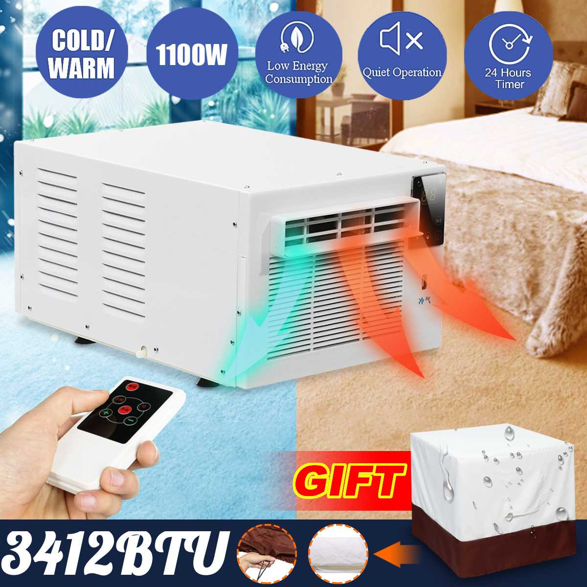 Desktop air conditioner 220V/AC 1100W 24 hour timer Cold/Heat dual use With remote control LED control panel Pet air conditione