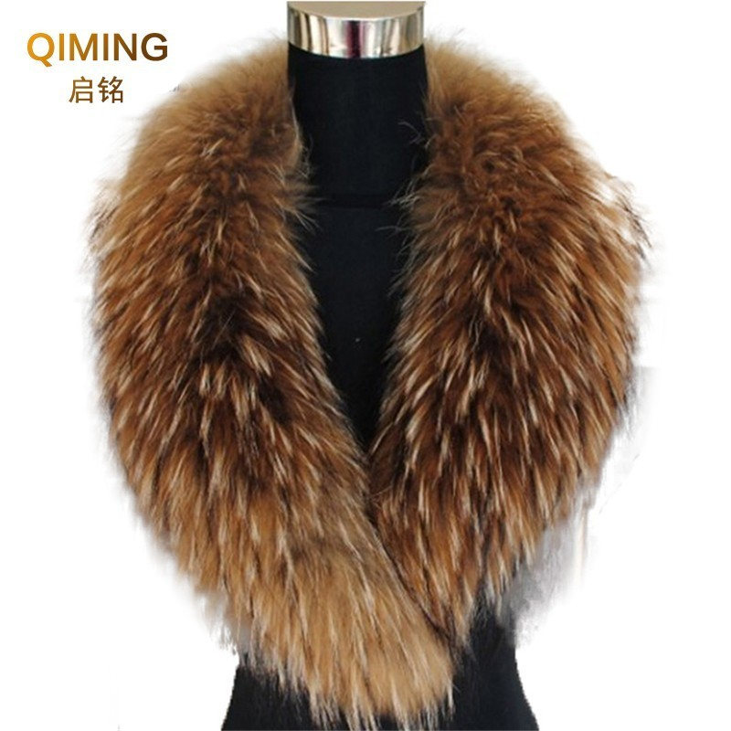 Natural Color Raccoon Fox Real Fur Collar Scarf Genuine Big Size Scarves Warp Shawl Neck Warmer Stole Muffler With Multicolor M7