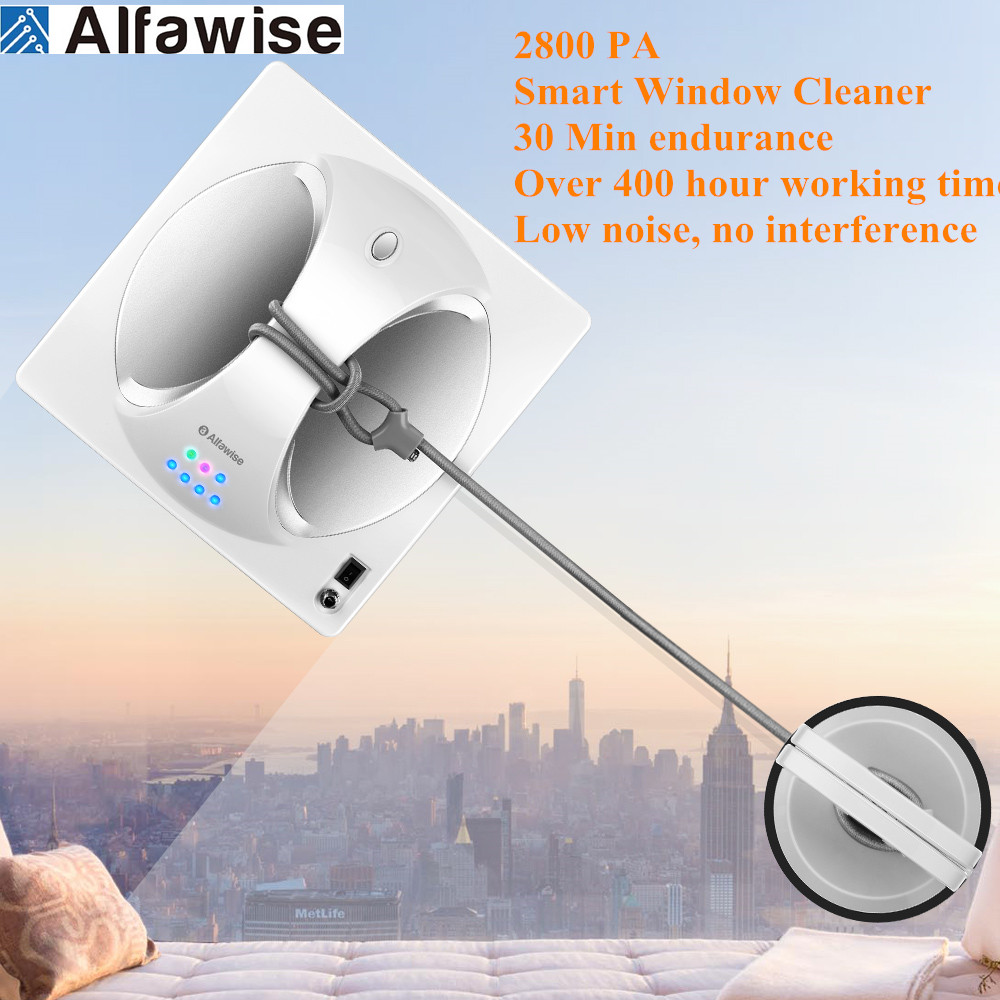 Alfawise 2800PA Automatic Remote Control Smart Window Cleaning Robot Magnetic Vacuum Cleaner Anti-Slip Washing Glass Machine LCD
